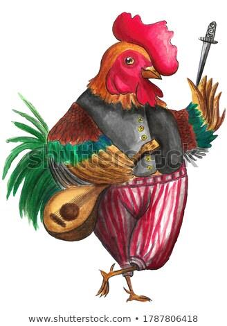 Photo stock: Coq · horoscope · personnage · couleur · pour · aquarelle · illustration · isolé