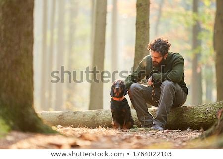 Człowiek hunter psa ilustracja sportu ptaków Zdjęcia stock © adrenalina