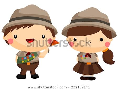 Jongen verkenner karakter witte illustratie natuur Stockfoto © colematt