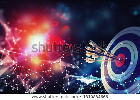 Arrow hit the center of target on abstract background with network effects. Business target achievem Stock photo © alphaspirit