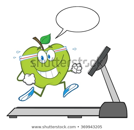 Healthy Green Apple Cartoon Character Running On A Treadmill With Speech Bubble Stock photo © hittoon