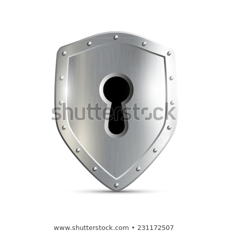 shield and key on white background. Isolated 3D illustration Stock photo © ISerg