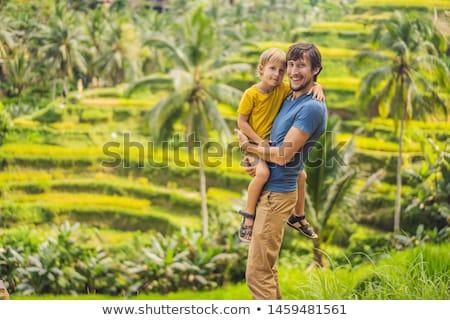 Moço viajante belo arroz famoso bali Foto stock © galitskaya