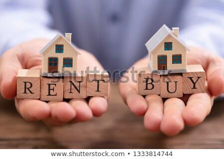 Işadamı dengeleme kira satın almak bloklar eller Stok fotoğraf © AndreyPopov
