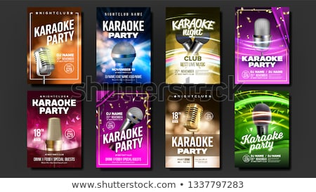 Karaoke Poster Set Vector. Colorful Instrument. Technology Symbol. Party Flyer. Music Night. Realist Stock photo © pikepicture