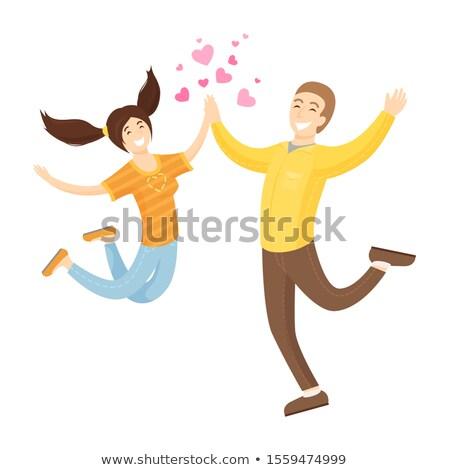 Heureux amoureux Aller copain petite amie sautant Photo stock © robuart