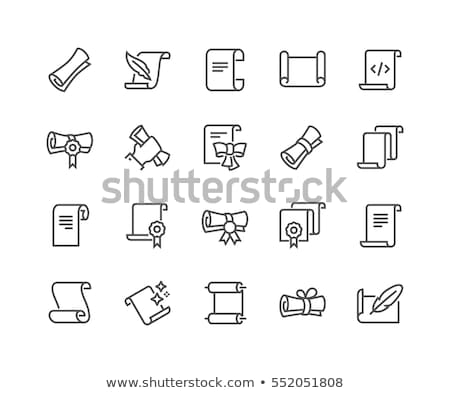 Feather and scroll icon Stock photo © angelp
