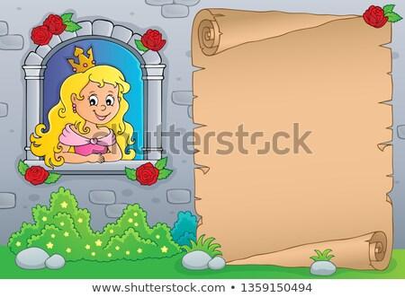 Princesse fenêtre parchemin femme fleurs papier Photo stock © clairev