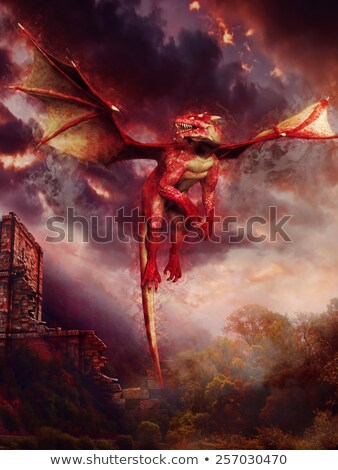 Cartoon · Flying · дракон · иллюстрация · Cute · синий - Сток-фото © colematt