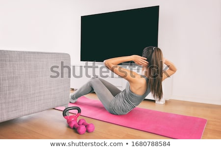 Fitness woman training abs workout Stock photo © boggy