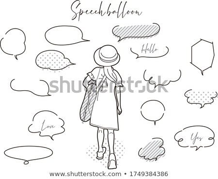 Aranyos lány szöveglufi illusztráció terv felirat Stock fotó © colematt