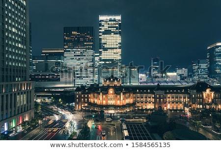 Kilátás éjszaka vasútállomás Tokió város Japán Stock fotó © dolgachov
