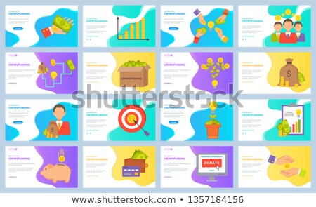 Crowdfunding Target with Aim and Arrow Web Set Stock photo © robuart