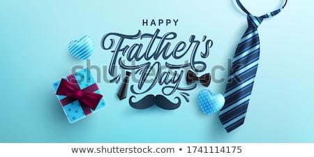 Mutlu babalar günü bıyık adam mutlu tatil grafik Stok fotoğraf © SArts