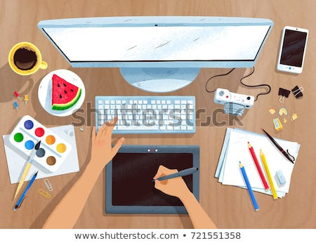 Top view vector set of digital artists workplace Stock photo © Sonya_illustrations