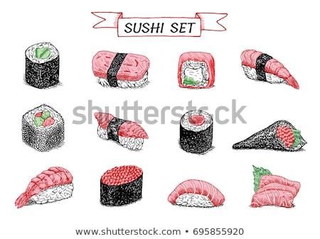 Vector sushi color sketch, unagi nigiri Stock photo © netkov1