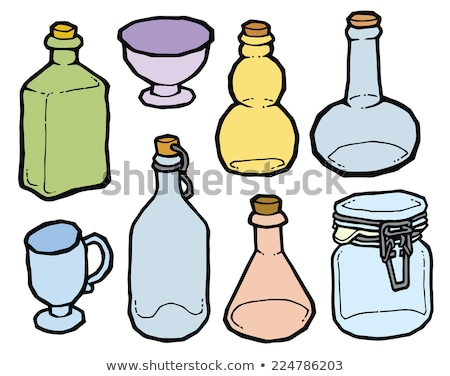 Hand Drawn Glass Bottle Color Blank Label Vector Stock photo © pikepicture