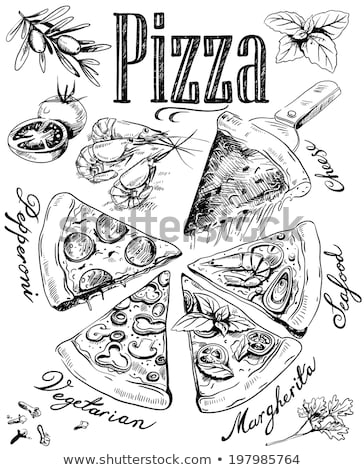 Végétarien italien tranche pizza dessinés à la main vecteur Photo stock © pikepicture