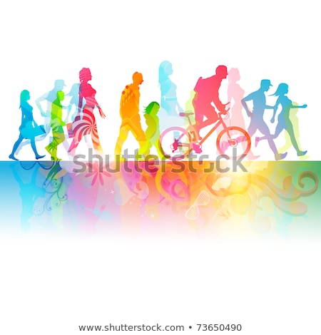 People Walking Outdoor, Healthy Lifestyle Vector Stock photo © robuart