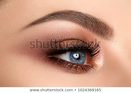 Close up of blue woman eye with beautiful brown with red and orange shades smokey eyes makeup. Moder Stock photo © serdechny