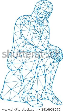Przyszłości człowiek myślenia mozaiki niski wielokąt Zdjęcia stock © patrimonio