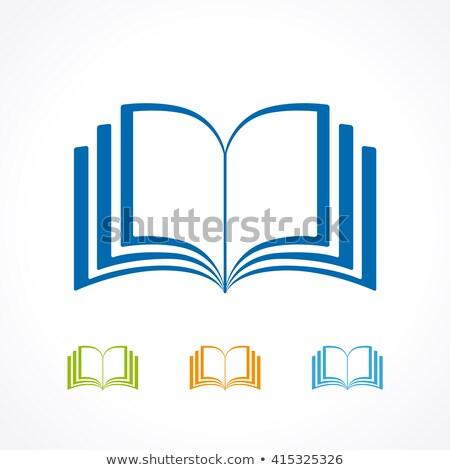 Açık kitap sarı kapak imi vektör kitap Stok fotoğraf © robuart