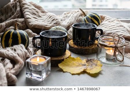 Two warm cups of tea, autumn leaves Stock photo © Illia
