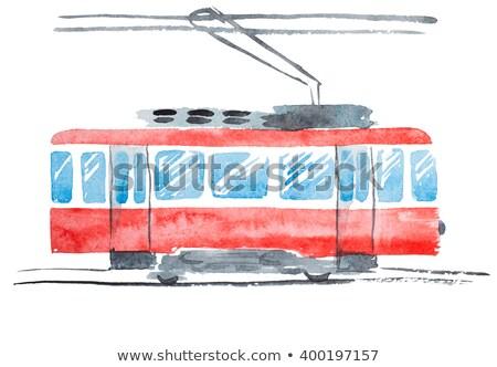 Akwarela czerwony tramwaj ilustracja historyczny Lizbona Zdjęcia stock © unkreatives