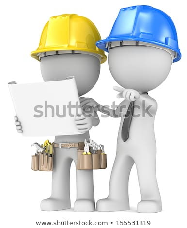 3d small people   repairman with tool belt stock photo © anatolym