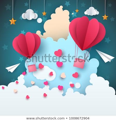 Cartoon papier lucht landschap wolk vliegtuig Stockfoto © rwgusev
