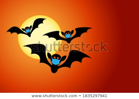 Halloween Cute Vampire Bat Flying In Front of Moon Stock photo © Krisdog