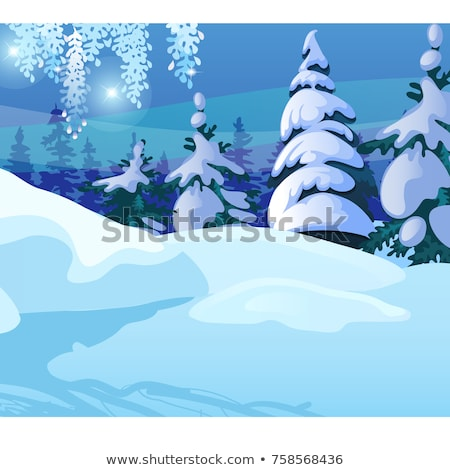 Winter sketch on the background of snowy spruce and tree in the forest. Sample of Christmas and New  Stock photo © Lady-Luck