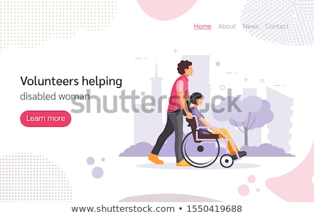 Young woman with disabled man in park flat vector illustration Stock photo © Decorwithme