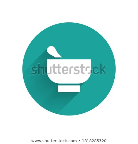 Mortar icon and leaves with shadow on a green circle. Vector pharmacy illustration Stock photo © Imaagio