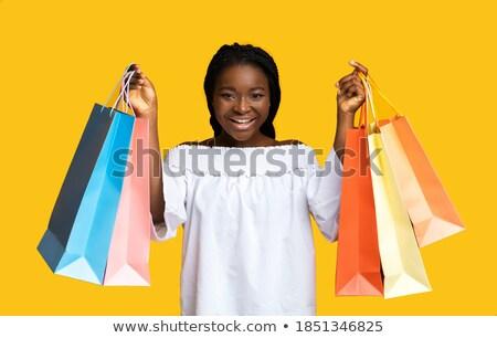 Big Sale Cheerful Woman, Shopaholic Lady Smiling Stock photo © robuart