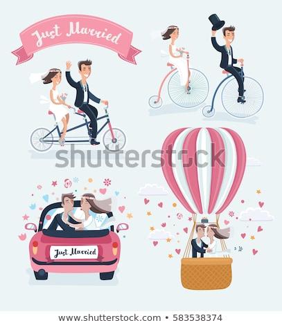 Paar bruiloft pak jurk frame Stockfoto © robuart