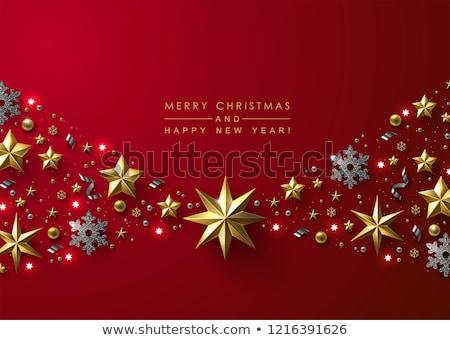 Vector Rood sneeuwvlokken schitteren gouden Stockfoto © fresh_5265954