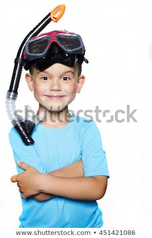 Menino snorkel branco ilustração crianças criança Foto stock © bluering