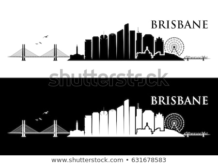 Brisbane City skyline black and white silhouette.  Stock photo © ShustrikS