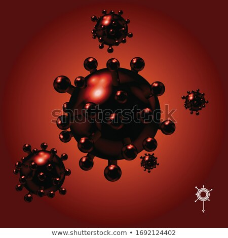 3D red Coronavirus Covid-19 molecules and white logo on red Stock photo © elaine