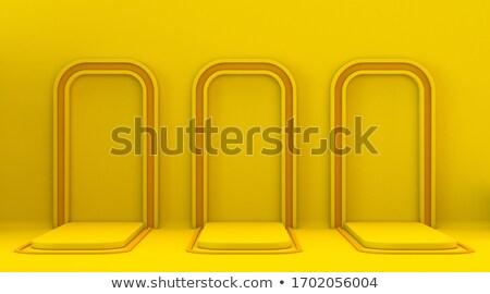 Drie Geel oranje omhoog winnaar podium Stockfoto © djmilic