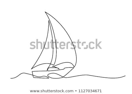 Vitorlázik csónak ikon vektor skicc illusztráció Stock fotó © pikepicture
