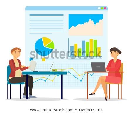 Woman Working with Infochart Presentation Vector Stock photo © robuart
