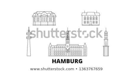 Schets hamburg skyline Blauw gebouwen Stockfoto © ShustrikS