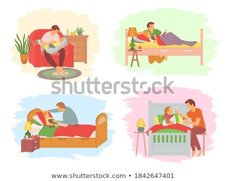 Fathers Care at Home, Bedtime Story for Baby Kid Stock photo © robuart