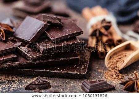 Chocolate bar pieces closeup. Sweet food photo concept with copy Stock photo © marylooo