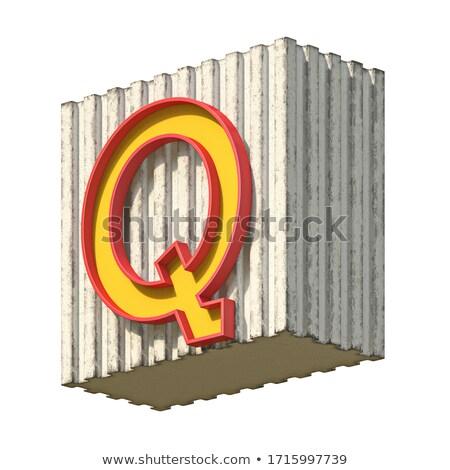 Vintage concrete red yellow font Letter Q 3D Stock photo © djmilic