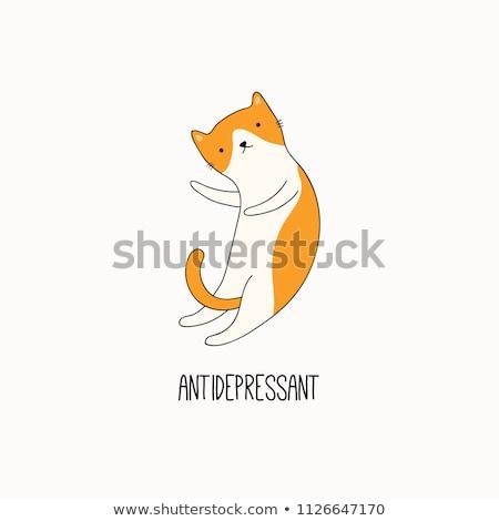 Funny gato antidepresivo texto citar diseno Foto stock © Zsuskaa