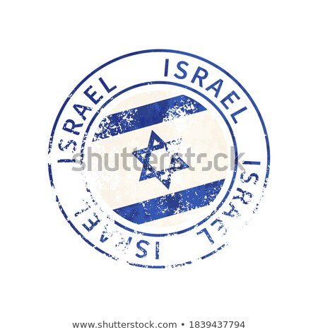 Israel sign, vintage grunge imprint with flag on white Stock photo © evgeny89