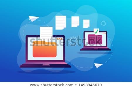 ファイル 転送 ノートパソコン 雲 サービス 技術 ストックフォト © evgeny89